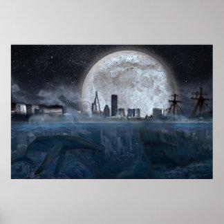 Póster Ciudad subacuática del paisaje de la ciencia