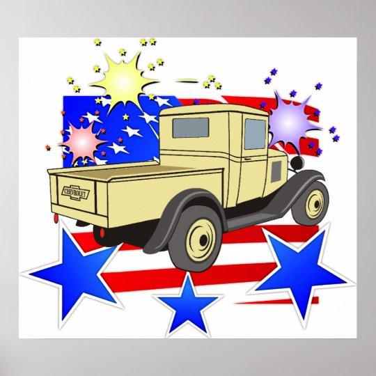 Poster clásico del camión de Chevy de los años 40  Póster