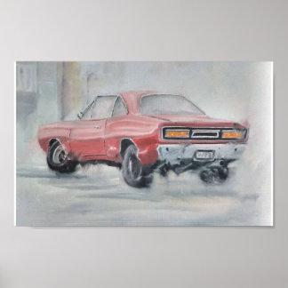Poster clásico del coche del aceite abstracto póster