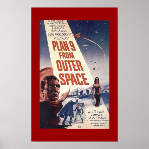 """Poster clásico """"plan 9 de la película del espacio"""
