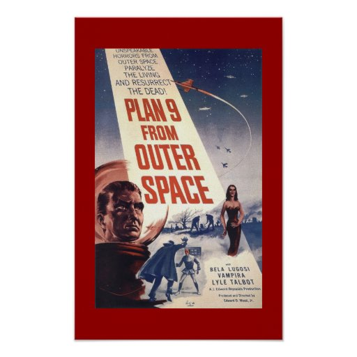 """Poster clásico """"plan 9 de la película del espacio  póster"""
