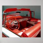 Poster clásico rojo del coche del vintage