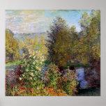 Póster Claude Monet - esquina del jardín en Montgeron