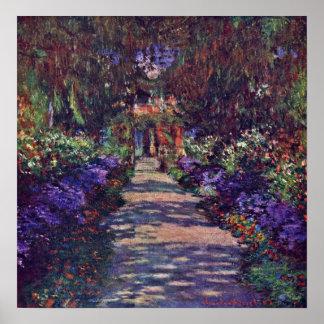 Póster Claude Monet - trayectoria del jardín