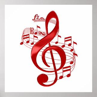 Póster Clef agudo rojo con las notas de la música que