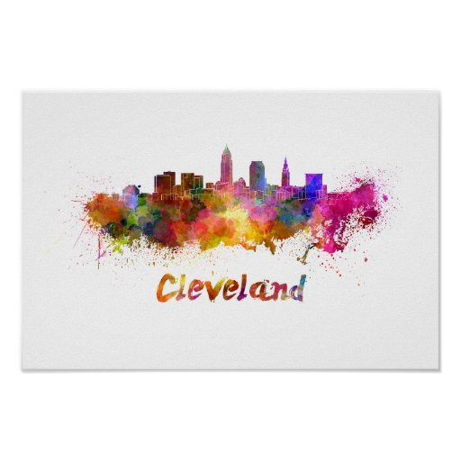 Póster Cleveland skyline in watercolor