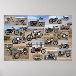 Póster Colección de la motocicleta del vintage, mate
