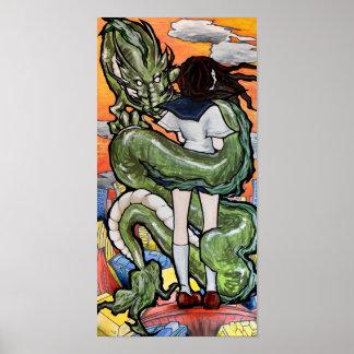 Póster Colegiala y dragón