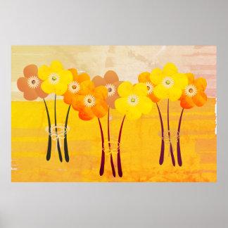Póster Collage anaranjado del ramo de la colección de la