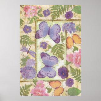 Póster Collage de la mariposa con las flores y la