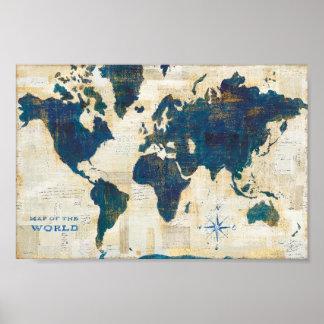 Póster Collage del mapa del mundo