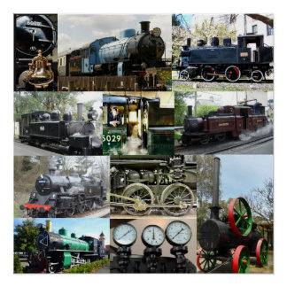 Póster Collage locomotor antiguo del tren del motor de