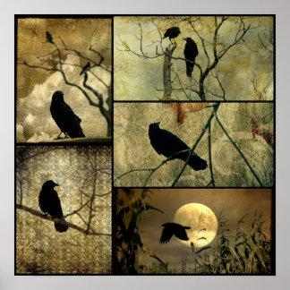 Póster Collage terroso de los cuervos
