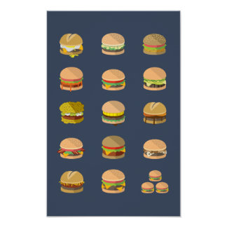 "Póster Coloque la guía a las hamburguesas - poster 11"" x"