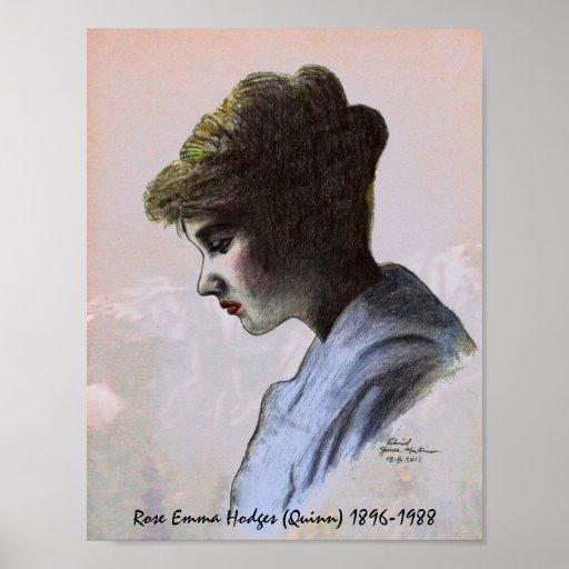 Poster color de rosa del monumento de Emma Hodges