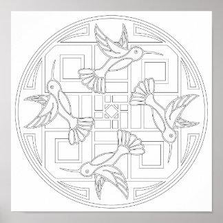 Póster Color del colibrí de los OrnaMENTALs #0021 sus los