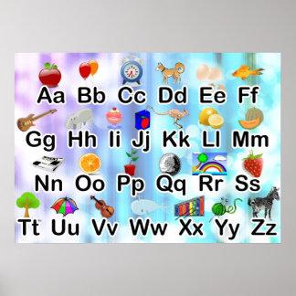 Poster colorido del alfabeto de ABC de la sala de