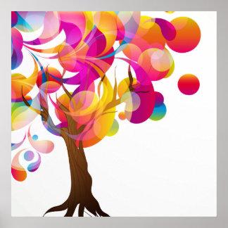 Poster colorido del árbol póster