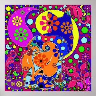 Poster colorido del gato del flower power retro