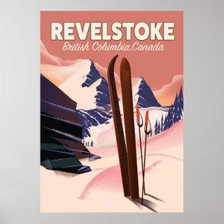 Póster Columbia Británica de Revelstoke, poster del esquí