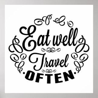 Póster Coma bien el viaje a menudo