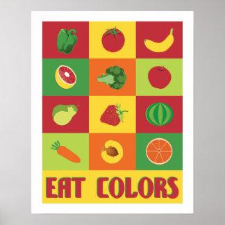 Póster Coma el poster de la fruta y verdura de los