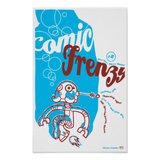 Poster cómico del robot del frenesí