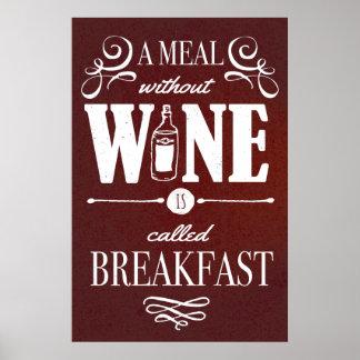 Póster Comida sin el vino