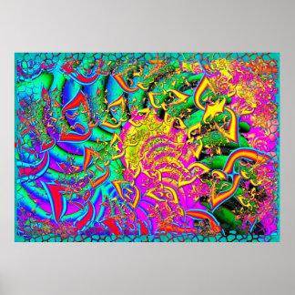 Póster Como el fractal psicodélico 3D del caramelo