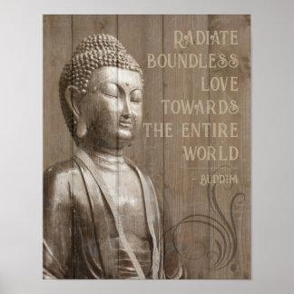 Póster Comparta la cita de madera budista de Buda del