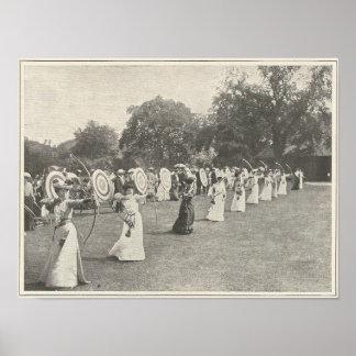 Póster Competencia del tiro al arco de 1904 señoras