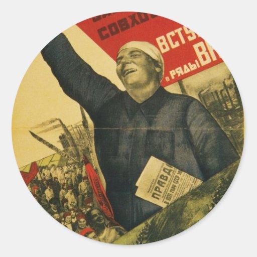 Poster comunista de la propaganda del vintage ruso etiqueta redonda