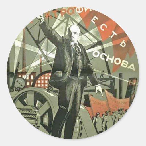 Poster comunista ruso de la propaganda etiqueta redonda