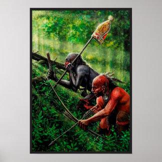 Poster con dos guerreros del nativo americano póster