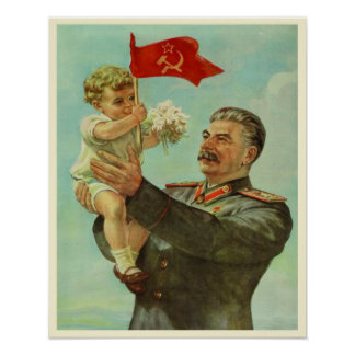 Poster con la impresión de la propaganda de Stalin