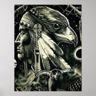 Poster con la pintura del nativo americano póster