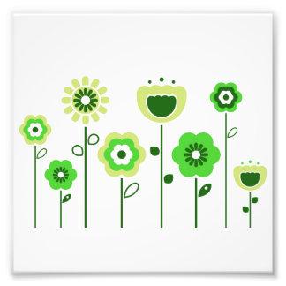 Poster con las flores populares verdes cojinete