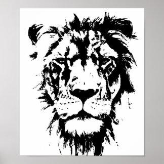 Poster con una impresión blanco y negro Leo