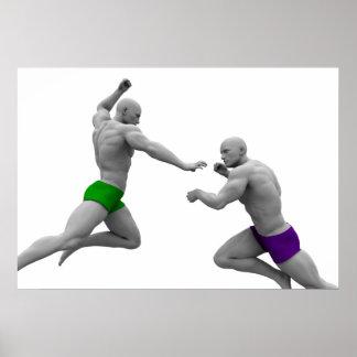 Póster Concepto de los artes marciales para luchar y la