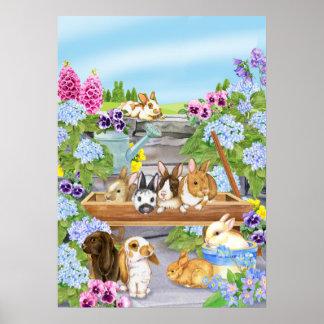 Póster Conejitos en el jardín