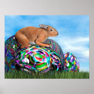 Póster Conejo en su huevo colorido para Pascua - 3D