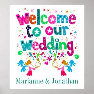 Poster contemporáneo del boda