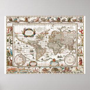 Póster Continentes del mapa histórico del viejo mundo At
