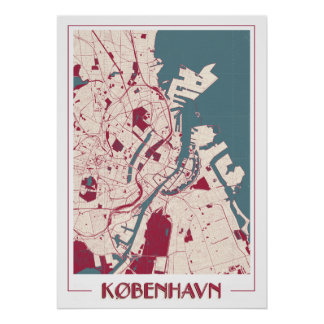 Póster Copenhague BIG Classic Map RB Poster