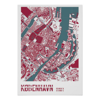 Póster Copenhague Map RB