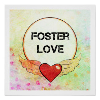 Póster Corazón adoptivo de la acuarela del amor