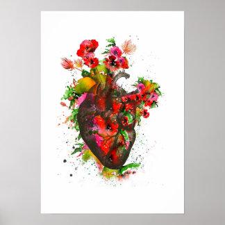 Póster Corazón anatómico con las flores, corazón floral