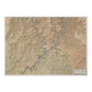 Póster Corazón del poster del mapa de Canyonlands (Utah)