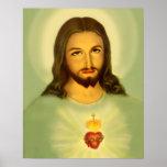 Póster Corazón sagrado del tono verde de Jesús Tradional