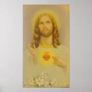 Póster Corazón sagrado del vintage del Jesucristo